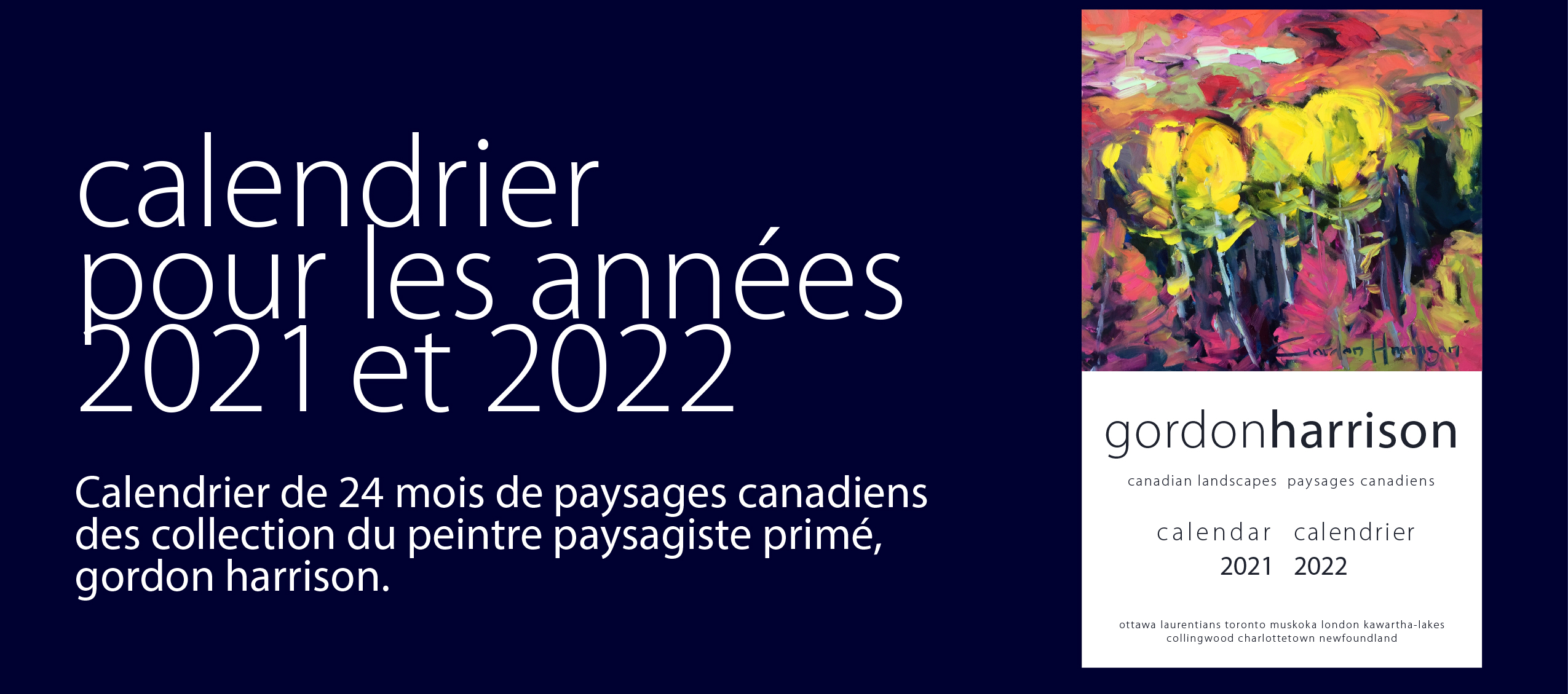 calendrier du grand peintre paysagiste gordon harrison 2021 et